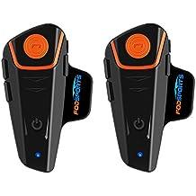 Bluetooth Moto Motocicleta Fodsports BT-S2 Casco Intercom Intercomunicador Auriculares Headset Walkie-Talkie Interfono Equitación Esquí(Manos libres/Water Resistant/Radio FM/GPS/MP3/1000M/2Piezas)