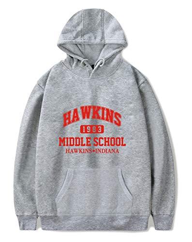 SIMYJOY Unisex Stranger Things Fans Hoodie Hawkins Middle School Pullover 1980er Jahre Mode Vintage Sweatshirt Stranger Things Streetwear für Mann Frau Teen grau B 3XL