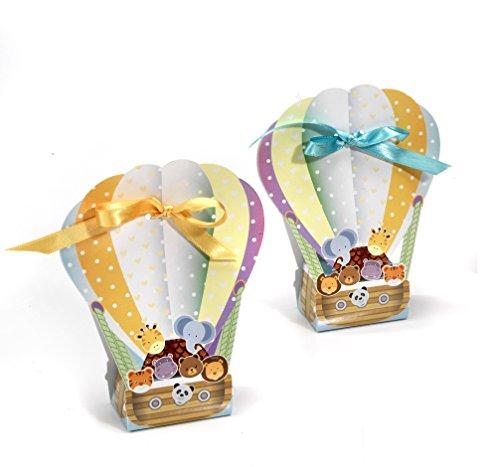 50 pz. scatolina portaconfetti bomboniera mongolfiera animali in cartone