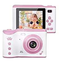 AMERTEER Kids Camera, 8.0MP Creative Digital Dual Camera, Rechargeable Children Camcorder with 2.8'' Touch Screen, 4X Digital Zoom, Gift for 3-12 Years Old Girls Boys Party Outdoor (pink) …