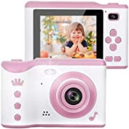AMERTEER Kids Camera, 8.0MP Creative Digital Dual Camera, Rechargeable Children Camcorder with 2.8'' T
