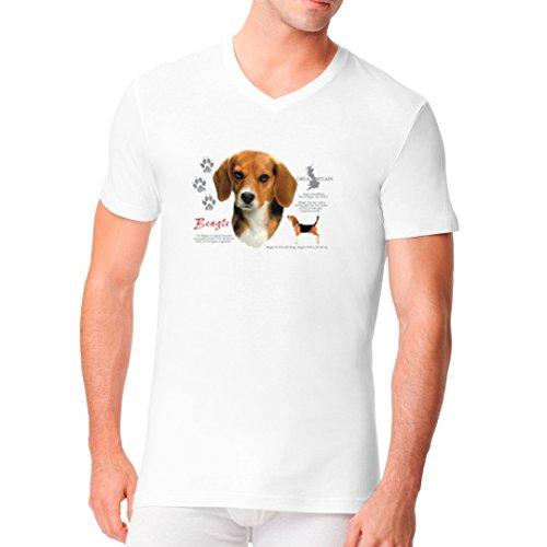 Im-Shirt - Hunde Shirt: Beagle cooles Fun Men V-Neck - verschiedene Farben Weiß