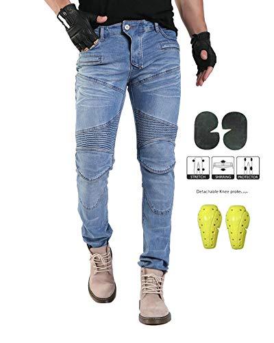 GELing Pantaloni Moto Uomo Jeans Kevlar Aramid Con l'armatura,Blu,2XL