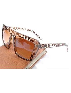 Lentes Cuadrados Gafas De Sol óptica templo vasos protectores (Leopard)