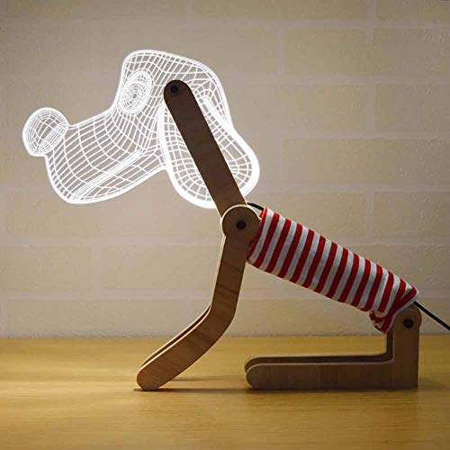 Coppia lampada da tavolo regalo lampada da tavolo in legno 3d puppy visibile stereo, protezione per gli occhi in acrilico camera da letto lampada da tavolo con illuminazione a led plug-in led,red