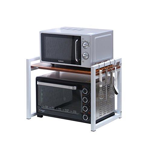 Multifonctionnel Micro-Ondes Four Rack Cuisine 2-Tier Pot Planche À Découper Fournitures De Stockage Étagères avec Crochets (Blanc et Teck) (Taille : 60 cm)