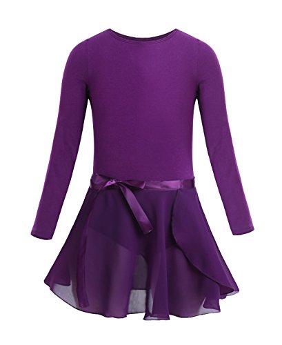 iixpin Kinder Langarm Ballettkleid Ballettkleidung im Set Ballettanzug/Ballett Trikot mit Chiffon Röckchen in Rosa, weiß, Schwarz, Lavendel Dunkel Lila 140-152