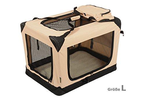 Jespet Hundetransportbox faltbar - soft Transportbox für Tiere– klappbare Transporttasche Hunde, Katze & Kleintier L Beige