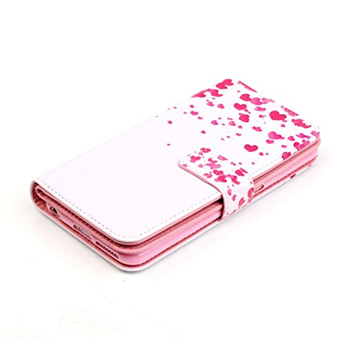 OuDu Housse iPhone 6 Plus/6S Plus Etui de Portefeuille avec Fente pour Carte pour iPhone 6 Plus/6S Plus Coque Flexible Doux Flip Leather Wallet Case Cover Bumper Etui Pochette en PU Cuir Coquille Minc Cœur