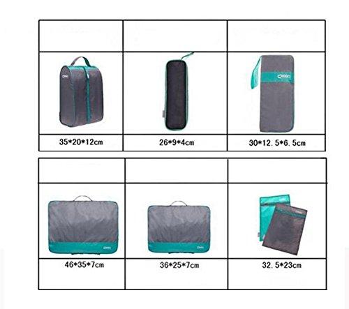 Sentao Kleidertaschen-Set 7-teilig Reisetasche in Koffer Wäschebeutel Schuhbeutel Kosmetik Aufbewahrungstasche