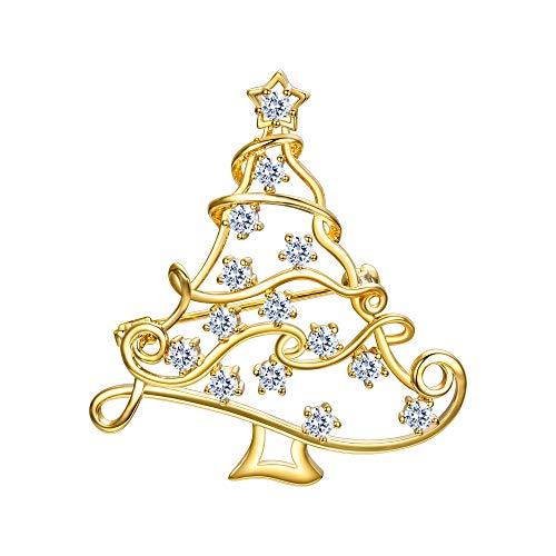 EVER FAITH Weihnachtsbaum Brosche Christmas Tree Pin mit kleinen Sternen baumelnden Kristall Gold-Ton