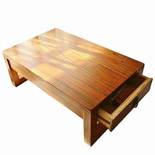 HAIZHEN Tables basses Table en bois massif, Table à thé Oriental Retro avec tiroirs Table à baie vitrée Table basse Zen (Couleur : A, taille : 70×45×30CM)