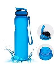 Botella , vsllcau Botellas Agua Reutilizable Deportes,Plástico Tritan, Un cepillo de limpieza incluido, Sin BPA -Azul transparente