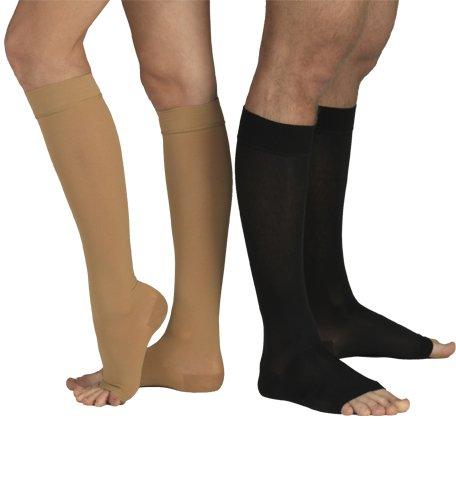 Unisex European Standard New Medical Compression Stockings/Socks Knee High Class I 18-21 mmHg Open Toe (Extra Large (RegularLength14.0``-17.3``(38-44cm), Caramel)