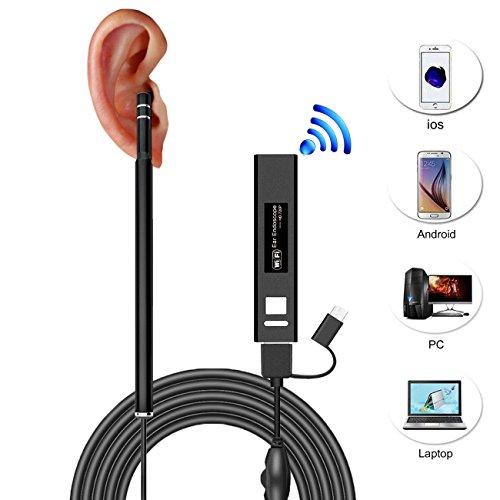 Ohr Endoskop,VICELEC Upgrade Wasserdicht WiFi Endoskop Kamera mit,6 Stufenlos Einstellbare LED-Leuchten und 2 Meter Kabel,Windows MAC PC zu Beobachten und zu Schützen Eardrum Mundgesundheit