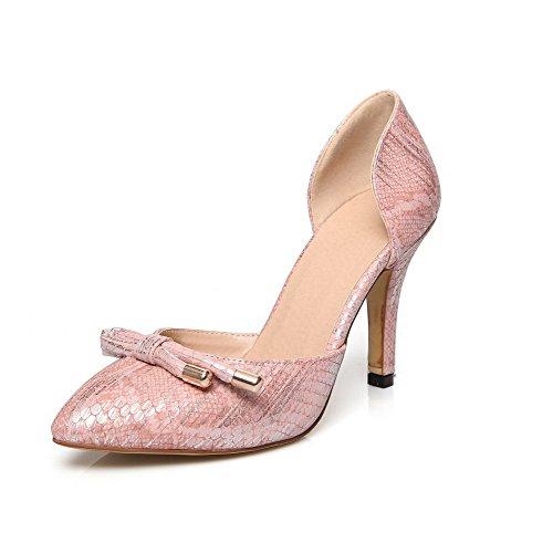 AllhqFashion Damen Pu Leder Ziehen Auf Spitz Zehe Stiletto Rein Pumps Schuhe Pink