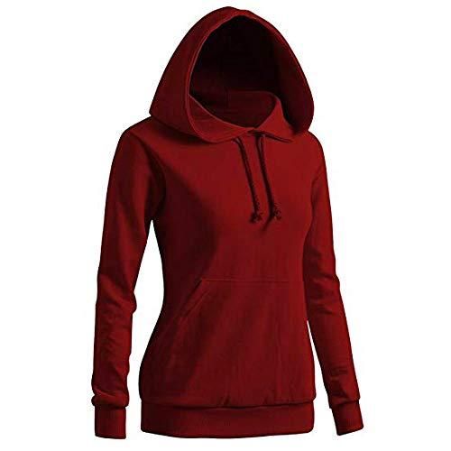 JUTOO Damen Solides Sweatshirt Langarm-Bluse Mit Kapuze Tasche Pullover Tops Shirt(rot,X-Large)