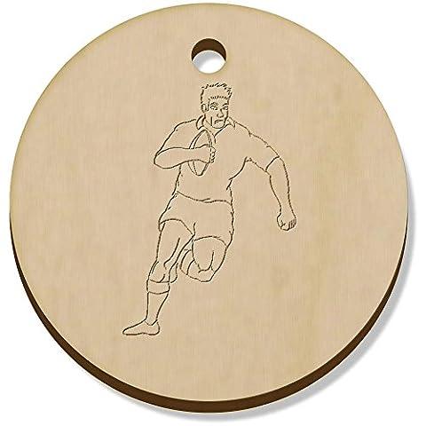 11 x 34mm 'Rugby Spieler' Hölzerne Anhänger / Schmuckanhänger (PN00005055)