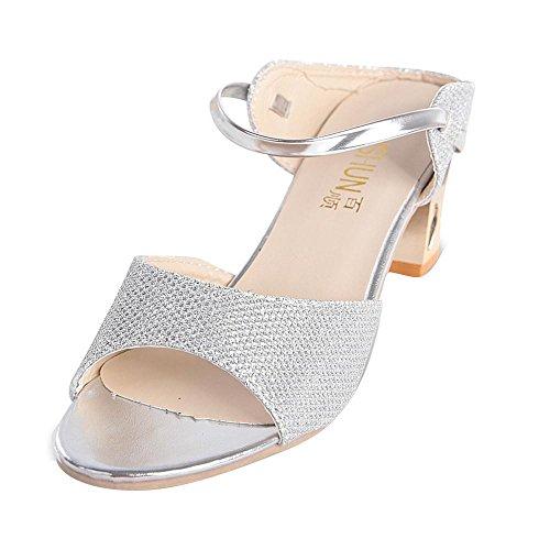 WOCACHI Damen Sommer Block Ferse Sandalen Frau Open Toe Fisch Mund 5.5CM High Heel Bequeme Schuhe Silber