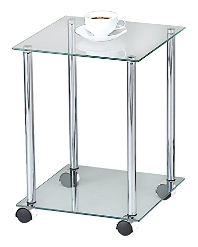 table with wheels. aspect 2-tier glass shelving rack/side table with wheels, 34 x 46 cm, clear wheels