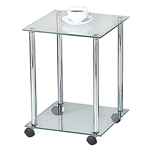 ASPECT 2 Tier Glass Shelving Rack/Side Table With Wheels, 34 X 34 X 46 Cm,  Clear