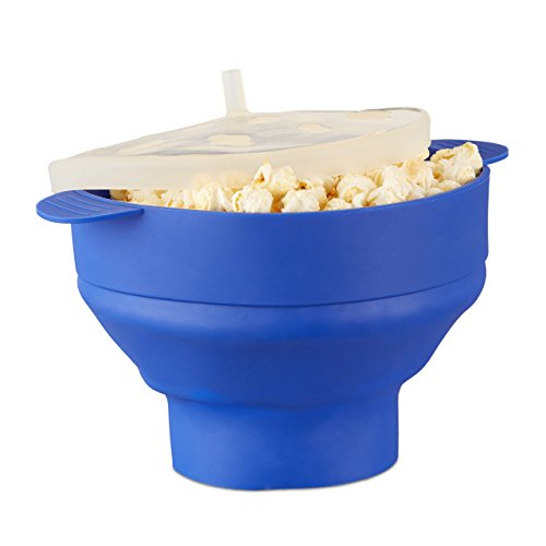 Relaxdays Silicone Microwave Popcorn Maker, Collapsible Popcorn Popper, No Oil, Blue