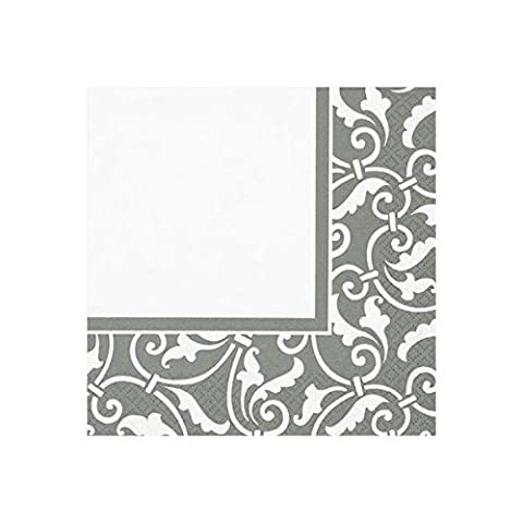 Amscan International Party Napkins Ornamental Scroll, Silver by