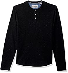 Original Penguin Mens Nep Speck Henley, True Black, Large