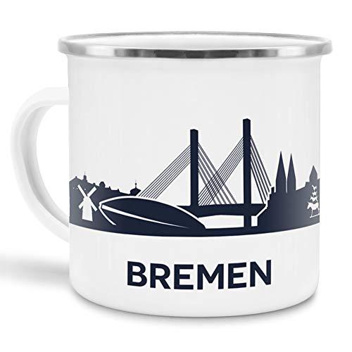 Tassendruck Emaille-Tasse mit Skyline von Bremen - Souvenir/Edelstahl-Becher/Metall-Tasse