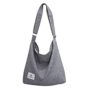 41RE4Xebi5L. SS300  - Bolsos Mujer,Fanspack Bolso Bandolera de Lona Hobo Bag Bolsos de Crossbody Bolsas de Hombro para Multifuncional (Gris)