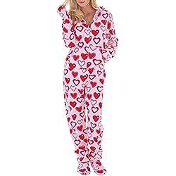 Ketamyy Femme Grenouillères Combinaison a Capuche de Pyjama avec Pieds Casual Polaire Adulte Une Pièce Printemps Hiver Automne Confortable Chaud Homewear Chaussettes Amovibles Rose/Coeurs Peach 2XL