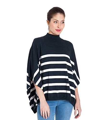 WoolOvers Poncho à rayures en coton chiné - Femme - Pur Coton Heathered Navy/G Mrl