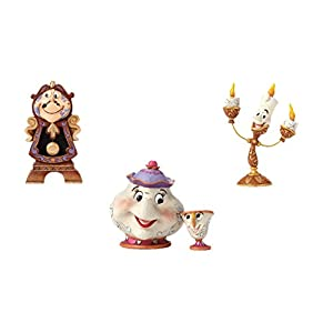 41RE5C0nP1L. SS300  - Disney Traditions Mrs Potts & Chip, Cogswoth and Lumiere Figurine Set