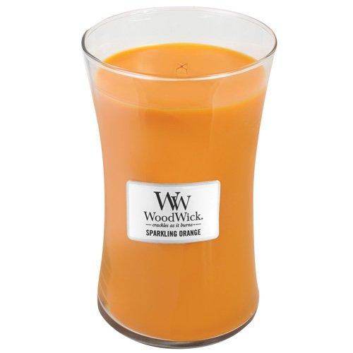 WoodWick 93044 Spritzige große Duftkerze Classic mit Holzdeckel 609.5 g, Glas, orange, 10.3 x 10.3 x 17.5 cm (Woodwick Kerzen Vanille)