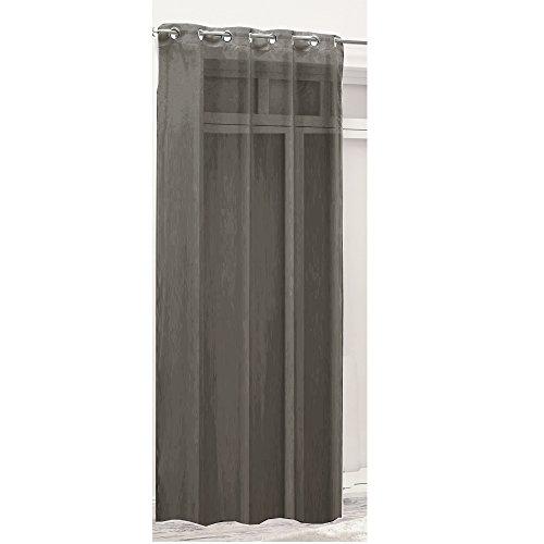 Ösenschal Deko Ösen Dekoschal Gardine Vorhang Glanz Fenster Schal Ösenvorhang (Grau)