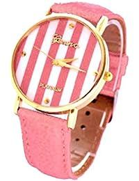 CursOnline Reloj Para Mujer Geneva Platinum Tiras Retro Style de Acero Con Tapa y Dorado & Casual Ideal Para la Temporada de Verano Cómodo Pulsera de Piel Estilo Vintage () Rosa
