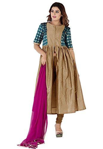Utsav Fashion Woven Yoke Cotton Silk Front Slit A Line Suit in...