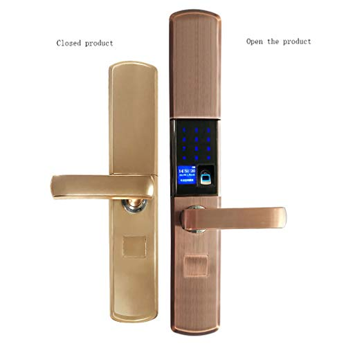 Hjd-Vorhängeschlösser Smart Fingerprint Lock Home Security Türschloss Elektronische Türschloss Apartment Passwortsperre APP Magnetkarte Sensor Lock Six In One (Color : A, Größe : Left Outside)