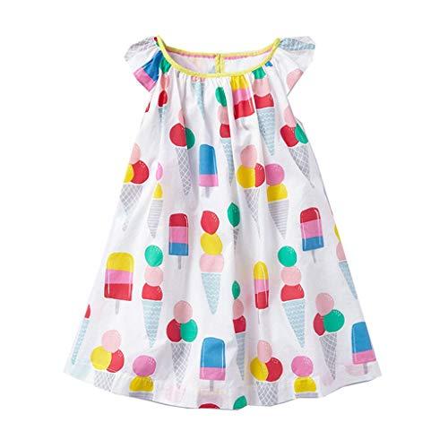 ZYUEER Kinderkleidung Kleinkind Kinder Baby Mädchen Cartoon EIS Gedruckt Casual Kleid Kleidung -