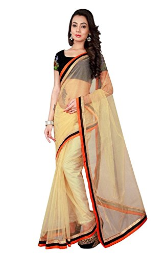 Priya Fashion Women\'s Net Saree with Blouse Piece