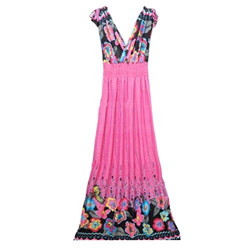 QIYUN.Z Les Femmes V Cou Manches Taille Haute Imprime Floral Plage Longue Robe Boheme Rose rouge