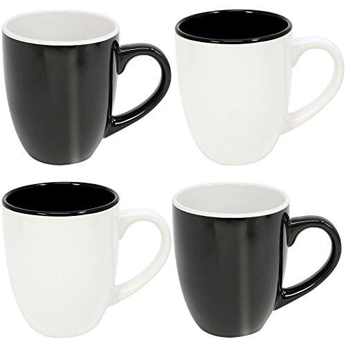 """COM-FOUR® 4x Kaffeebecher\""""Black\'n\'White\"""" im schlichten Design, Kaffeetasse aus Keramik in schwarz und weiß, 300 ml (04 Stück - schwarz/weiß)"""