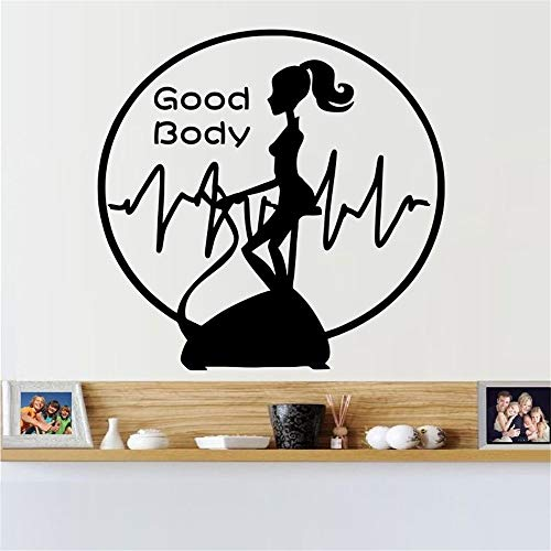 Fitness-Studio Hanteln Vinyl Wandaufkleber Fitness Logo Wandtattoo Bewegung moderne abnehmbare Wanddekoration gelb 21x22cm