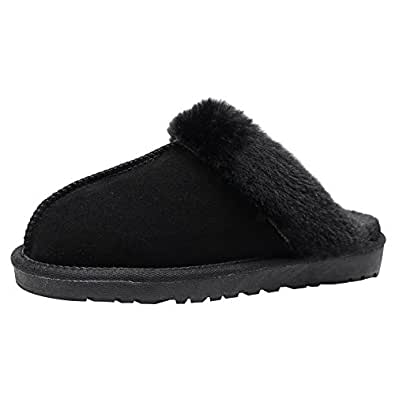 Yirenhuang Men 39 S Women 39 S Comfortable Suede Leather Mules Slippers Warm Fur Lined Cozy Indoor