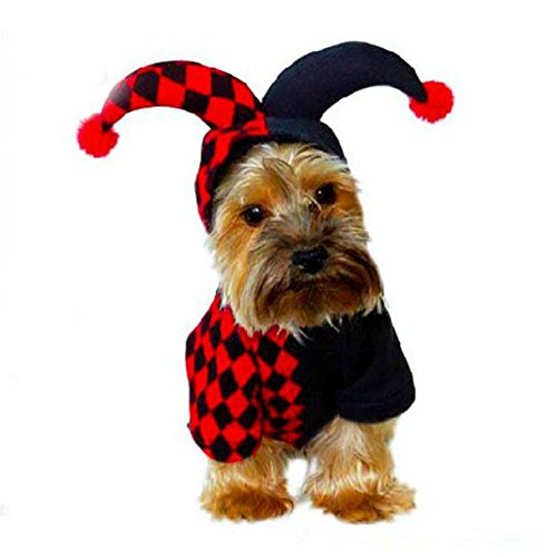 JiaYue Haustier Hund Kleidung Halloween Clown Kostüm Kleidung Polyester Material Schwarz , Photo Color , (Nobbies Halloween Kostüme)