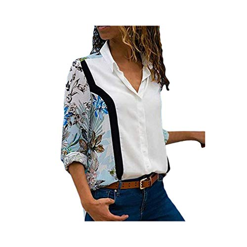 Women Long Sleeve Lapel Print Shirt Office Chiffon Blouse Casual Striped Tops Plus Size -