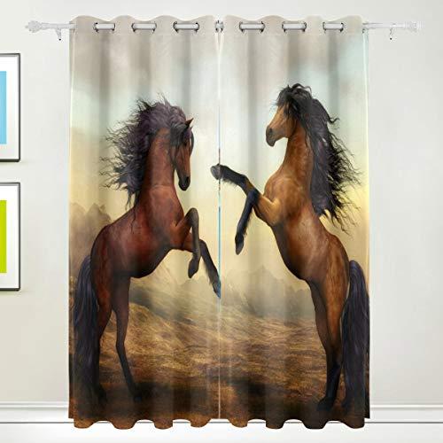 WENYAO Zwei Pferde Blackout Fenster Vorhänge Tülle Top Thermisch isolierte Raum Verdunkelung drapieren für Schlafzimmer Wohnzimmer 55W x 84L Zoll, 2 Panels (Pferd-gewebe-panel)