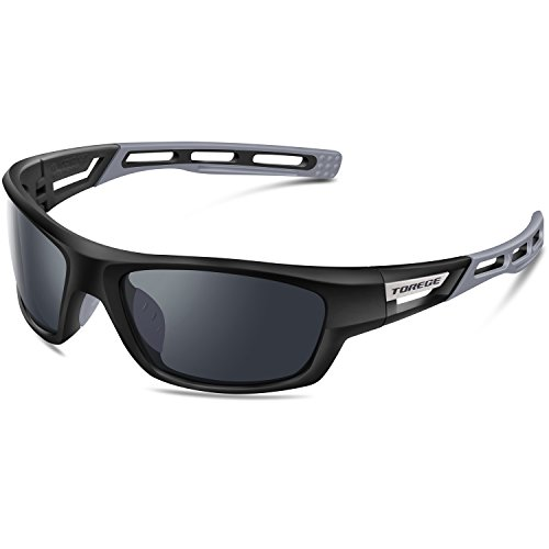 Torege Sport-Sonnenbrille polarisierte Sonnenbrille für Mann Frauen Radfahren Laufen Angeln Golf TR007, Black&Gray&Gray Lens ...