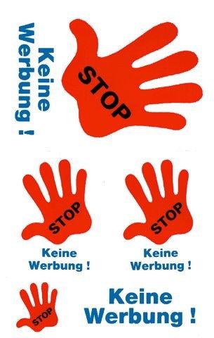 Schmuck-Etikett 76X120Mm Stop Keine Werbung