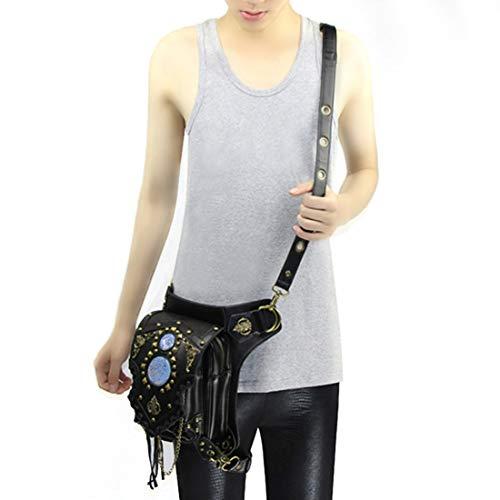 Pollusui Hombres Steampunk gótico Retro Cuero Multiuso Tactical Gota Pierna Brazo Bolsa Paquete cinturón Senderismo Cintura Fanny Messenger Hombro Bolso Negro (Color : Style1)